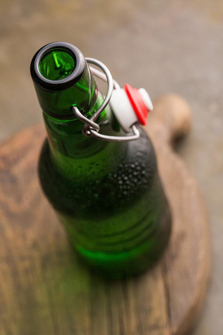 An open bottle of beer