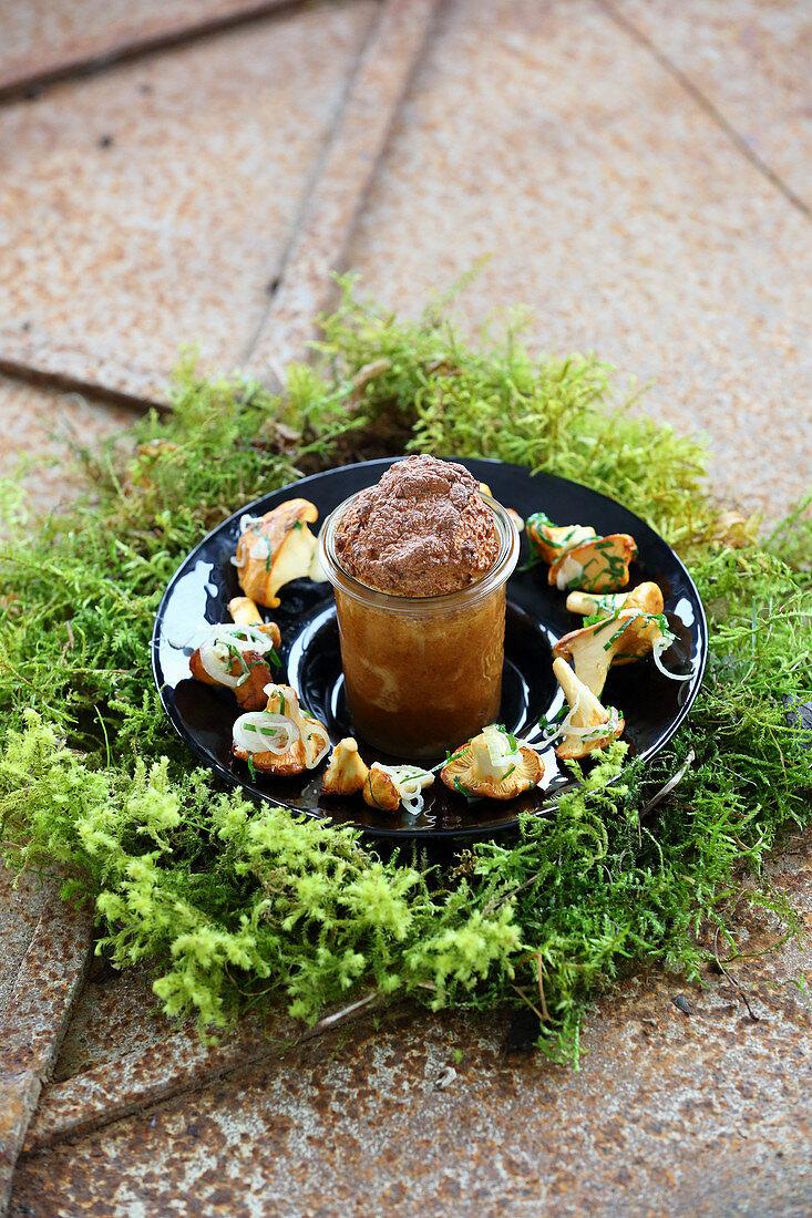 Bacon dumpling souffle with chanterelle mushrooms