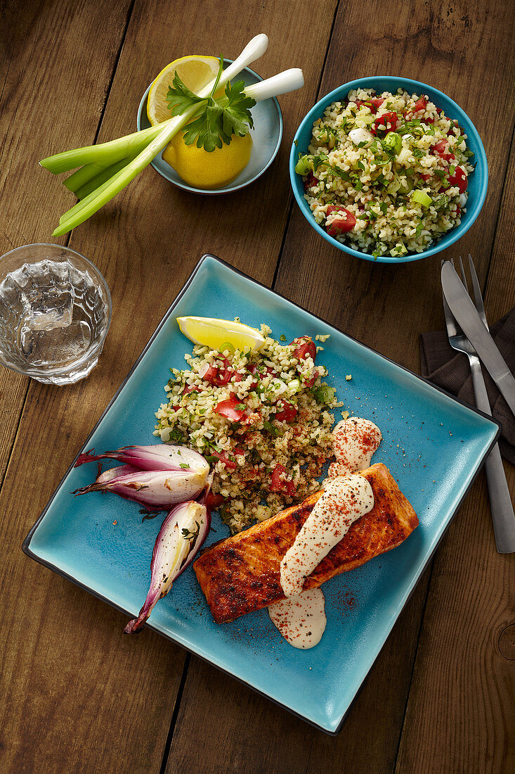 Blackened salmon and tabbouleh