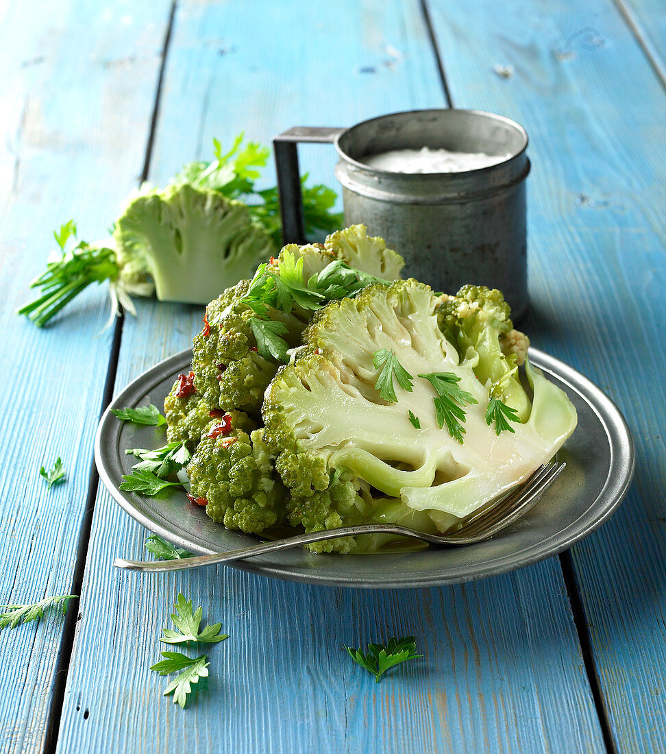 Baked cauliflower garnished with parsley
