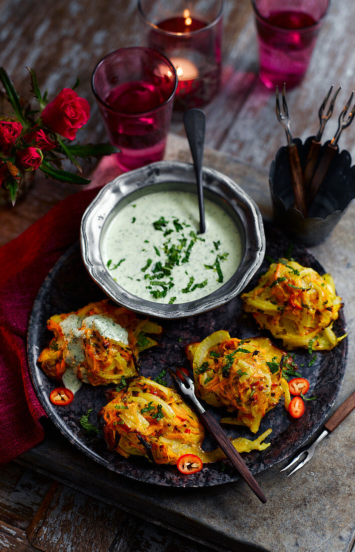 Onion and sweet potato bhaji with a yoghurt and herb dip (India)