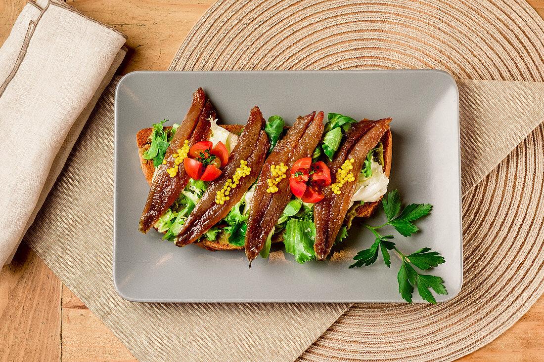 Smoked fish sandwich