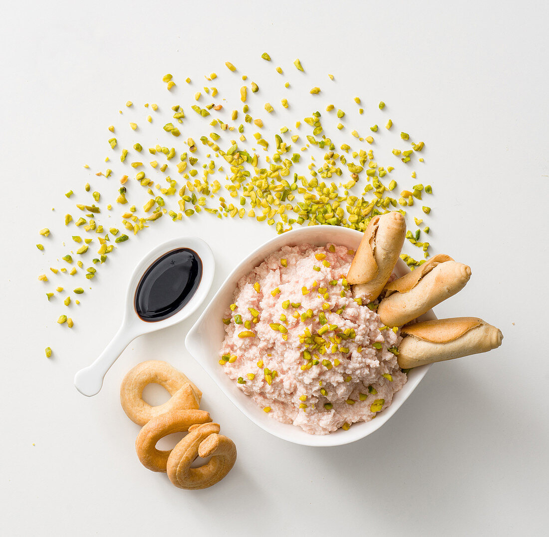 Mortadella and mascarpone mousse with pistachios and balsamico