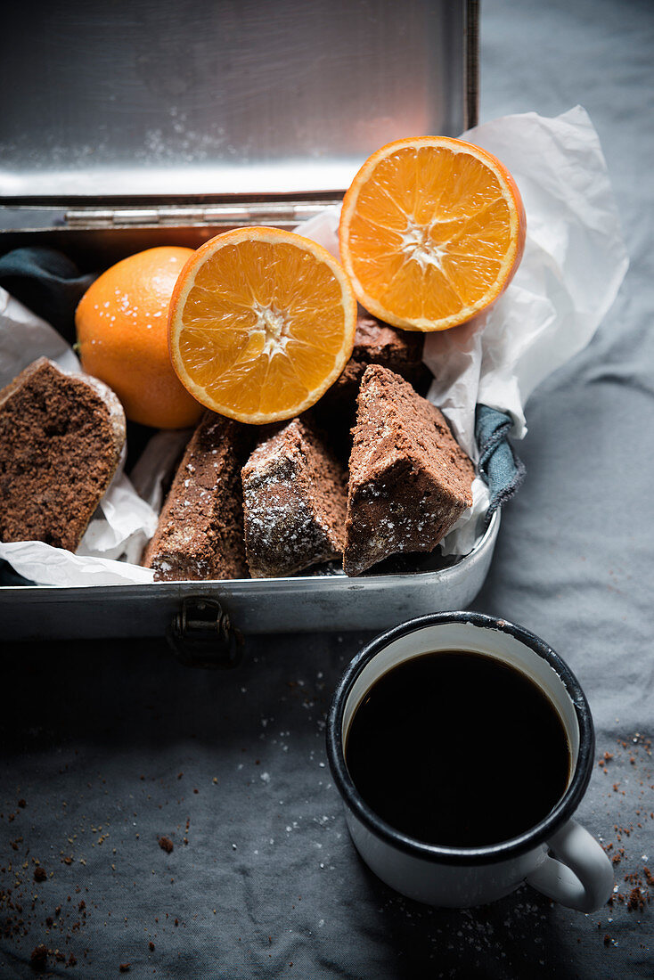Vegan chocolate and orange marzipan cake
