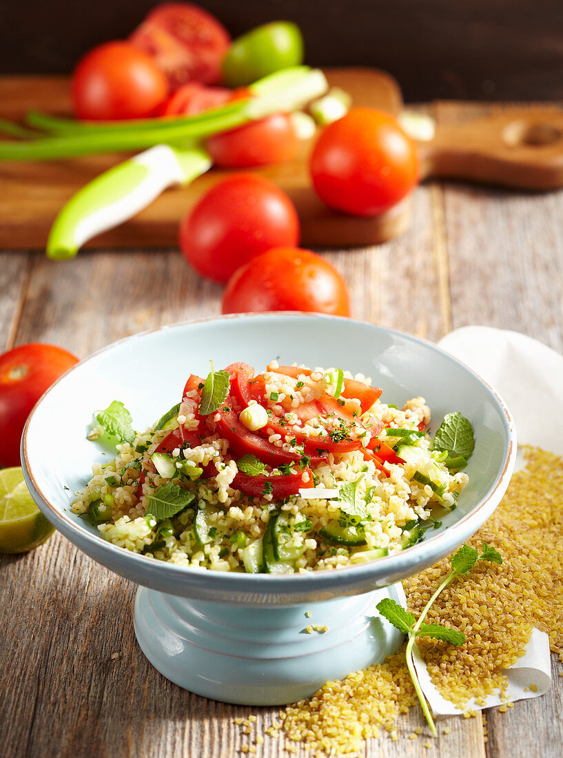 Arabic tomato bulgur salad with cucumbers and mint
