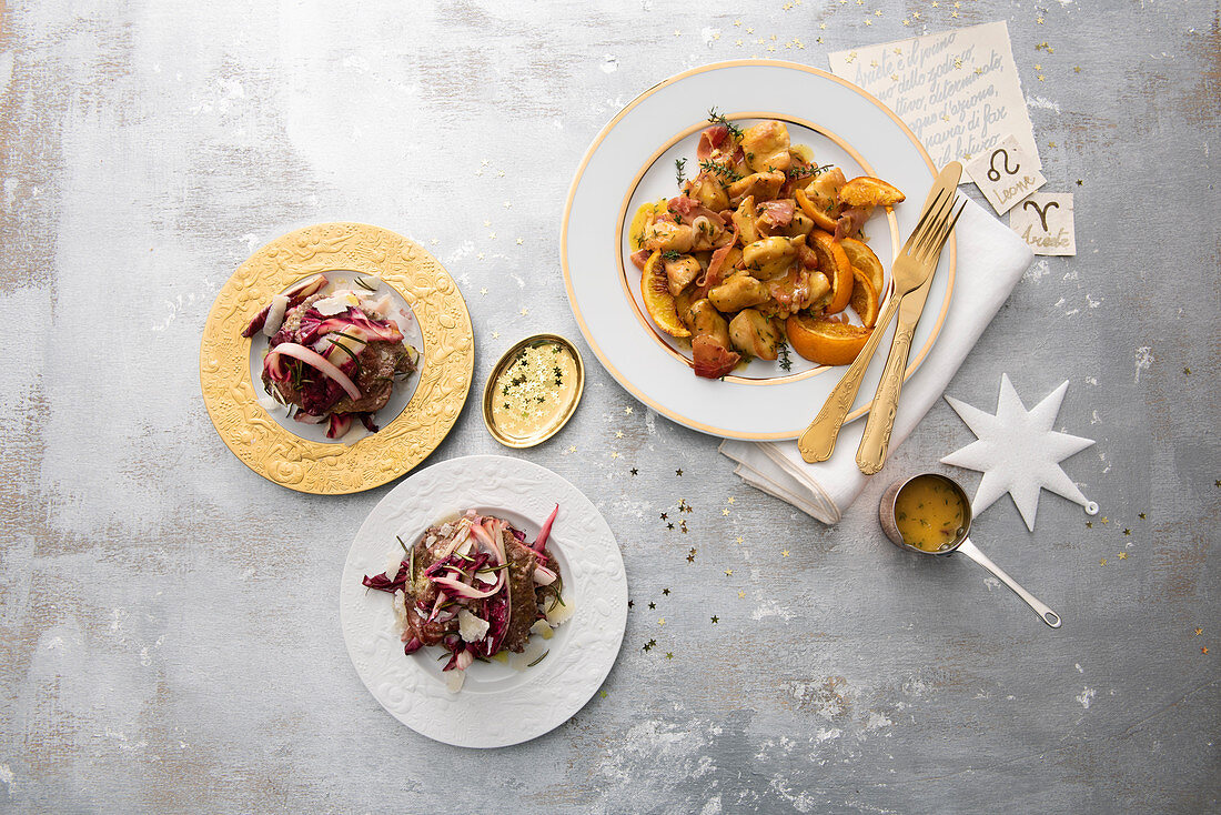 Baked carpaccio and radicchio millefeuille and chicken ragout with orange, thyme and bacon