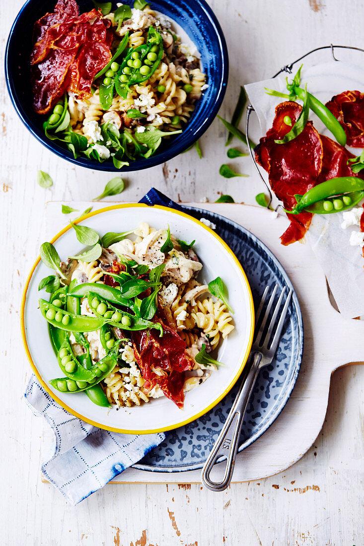 Chicken, Mushroom, Pea and Prosciutto Pasta