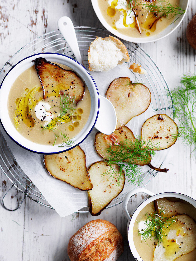 Fennel and Swede Soup with Pear Crisps