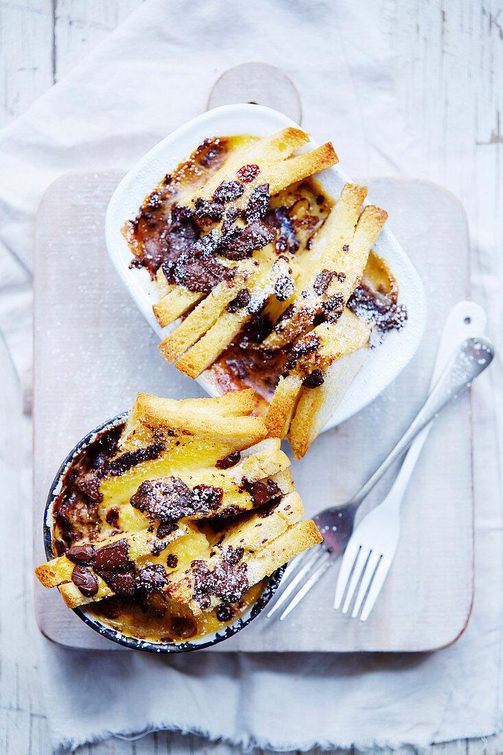 Choc-Cranberry Bread Puddings