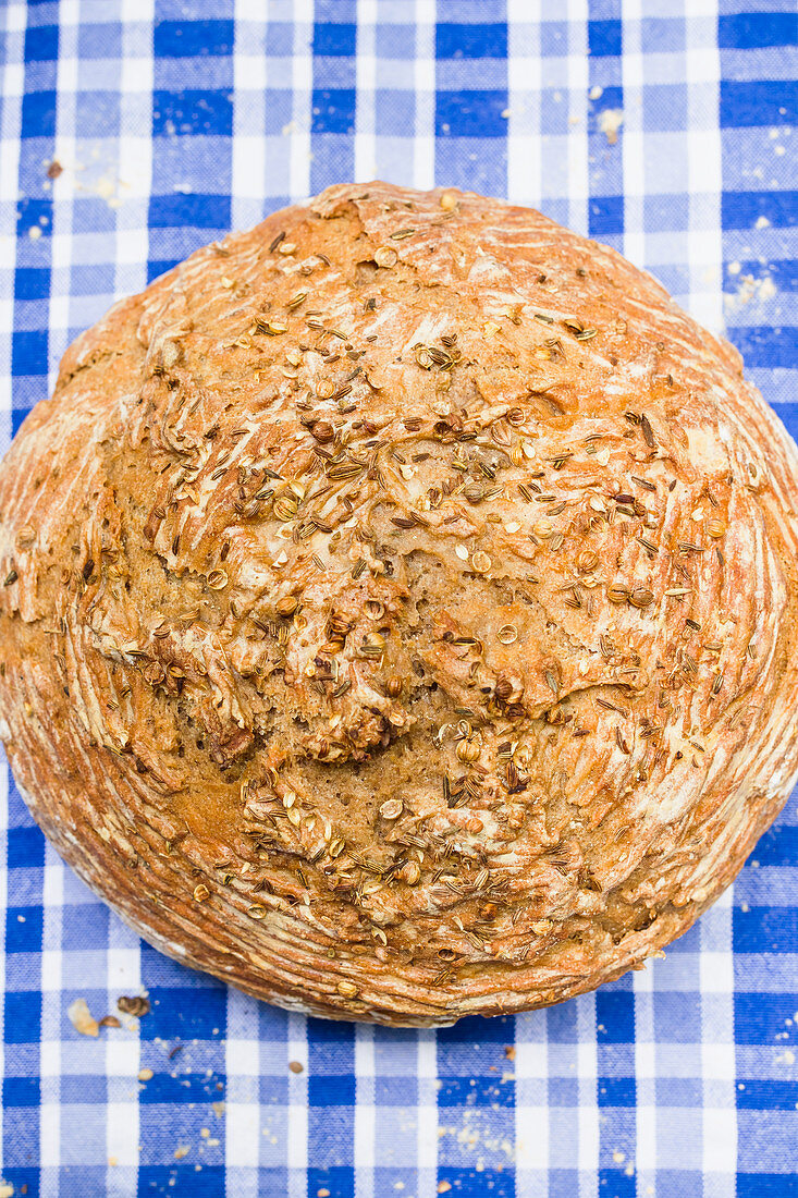 Beer bread with spices on a blue and white checkered tablecloth