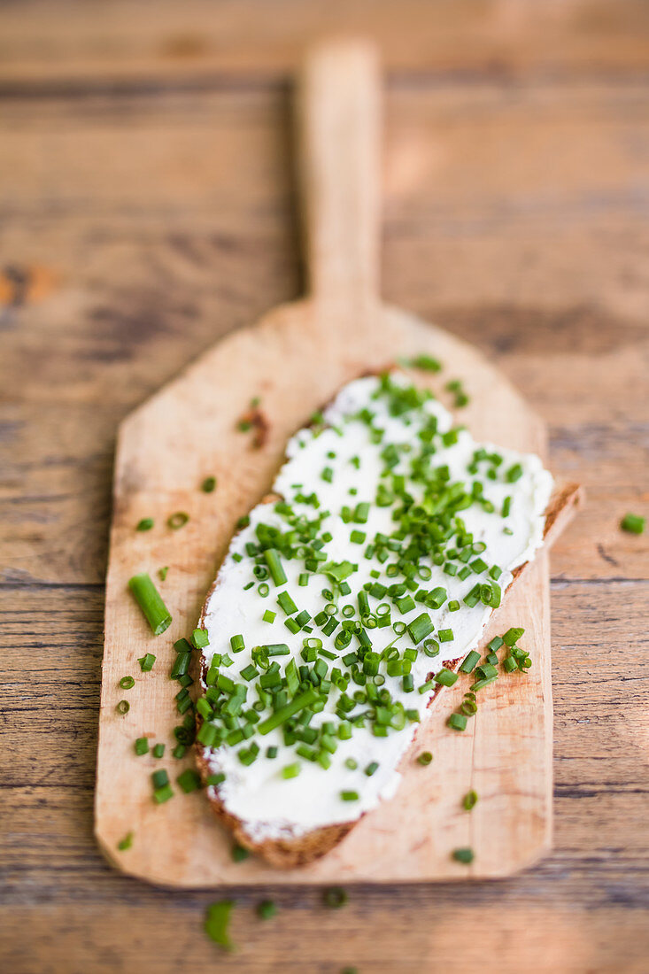 Chive bread on a wooden board