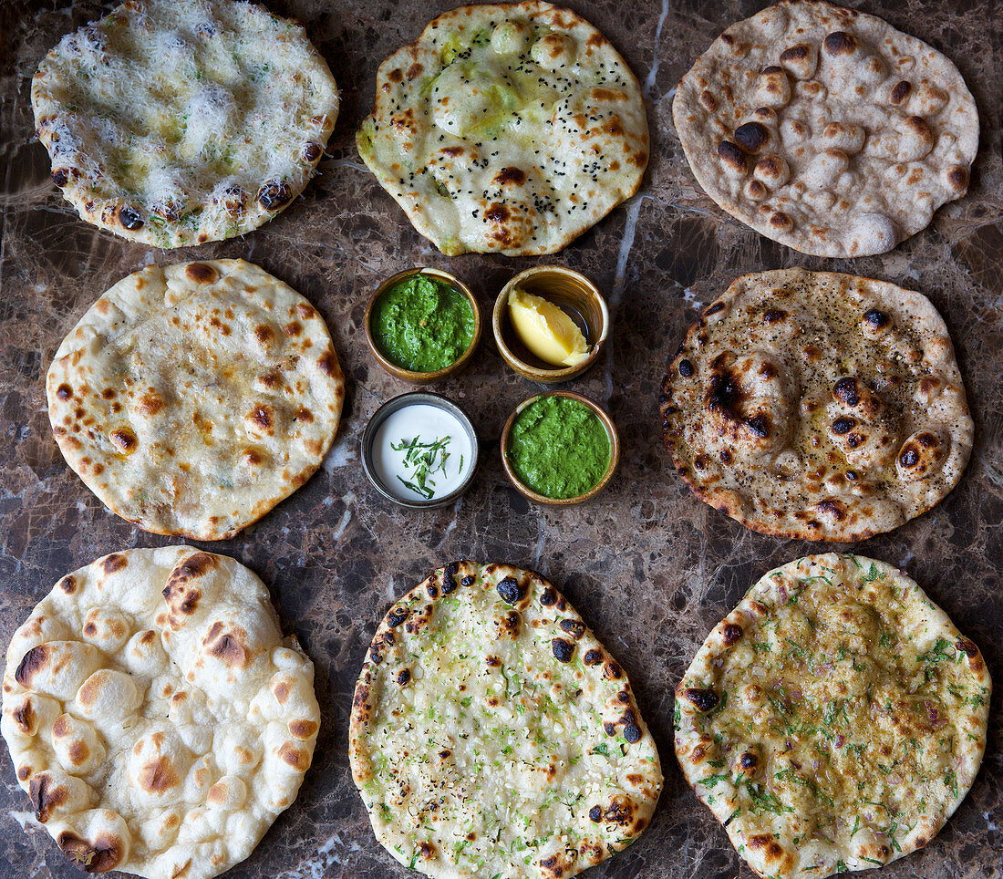 Various roti with dips (unleavened bread, India)
