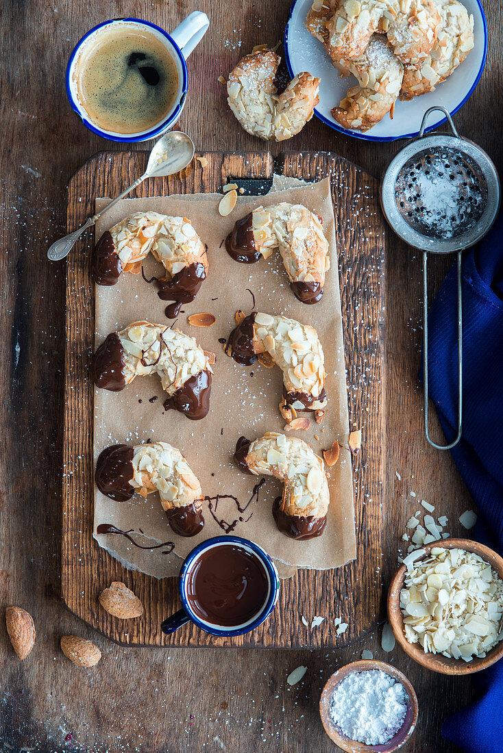 Marzipan almond cookies with dark chocolate
