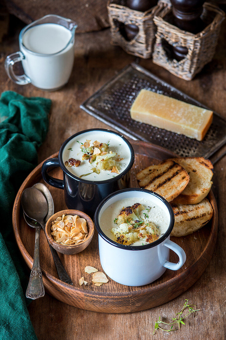 Cheese soup with roasted cauliflower