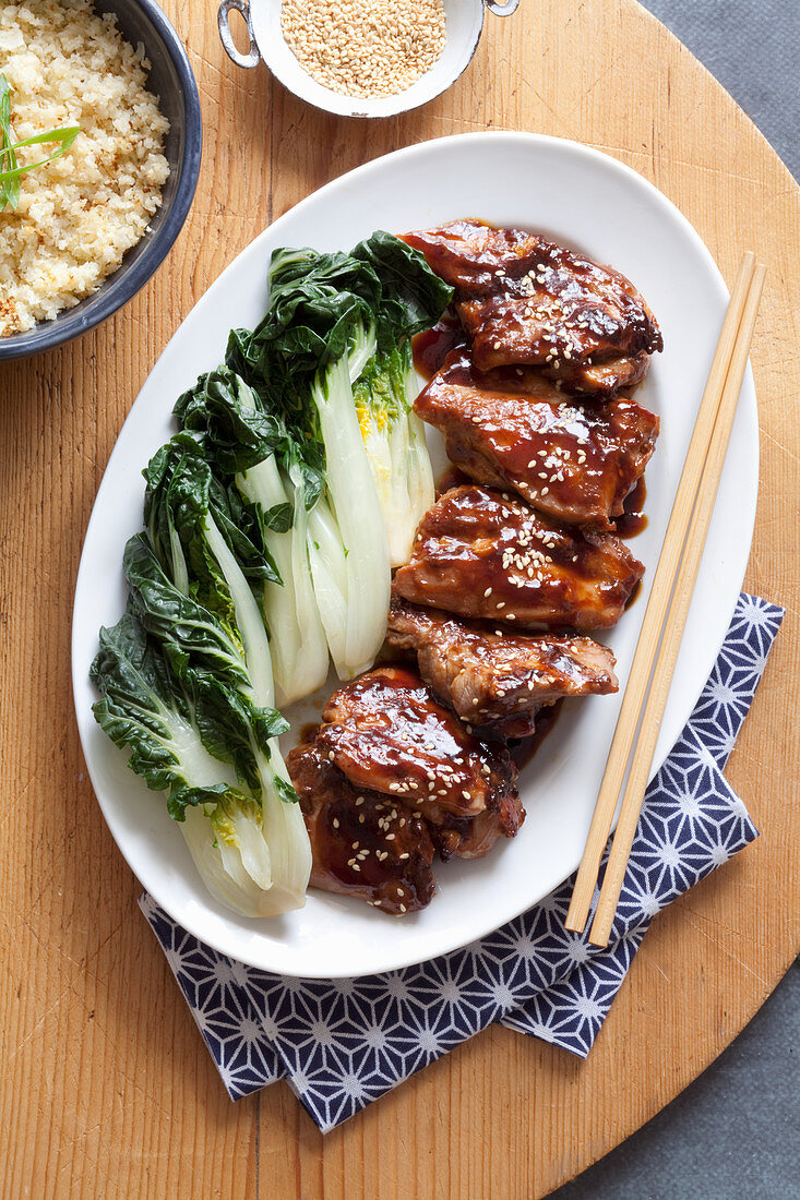 Nosugar teriyaki chicken with asian greens and cauliflower rice