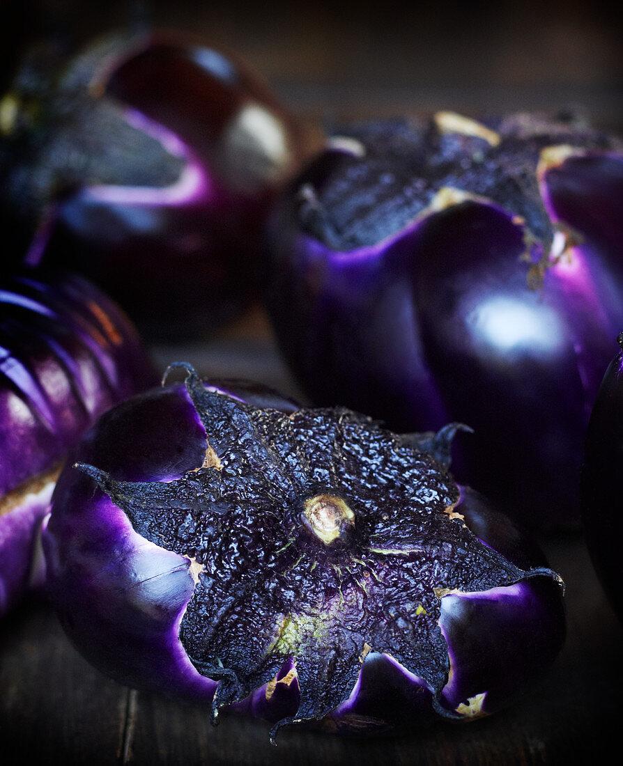 Purple aubergines