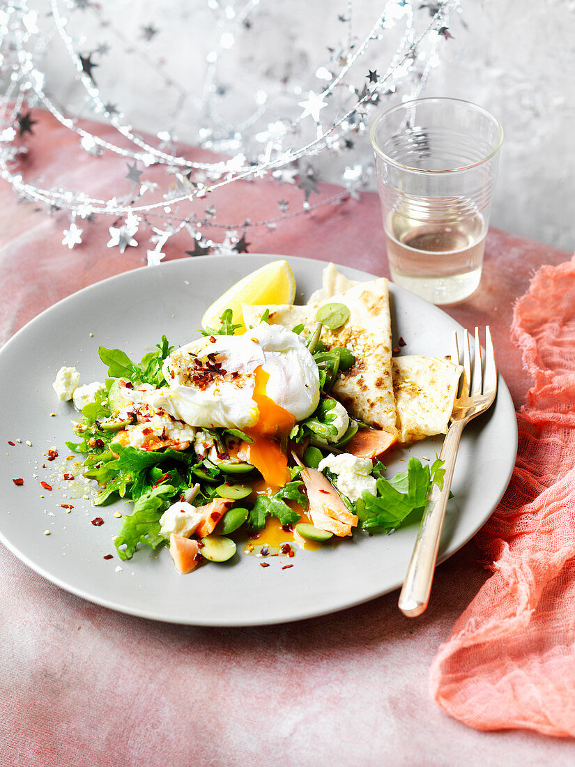Trout and Poached Eggs with Labne and Dukkah