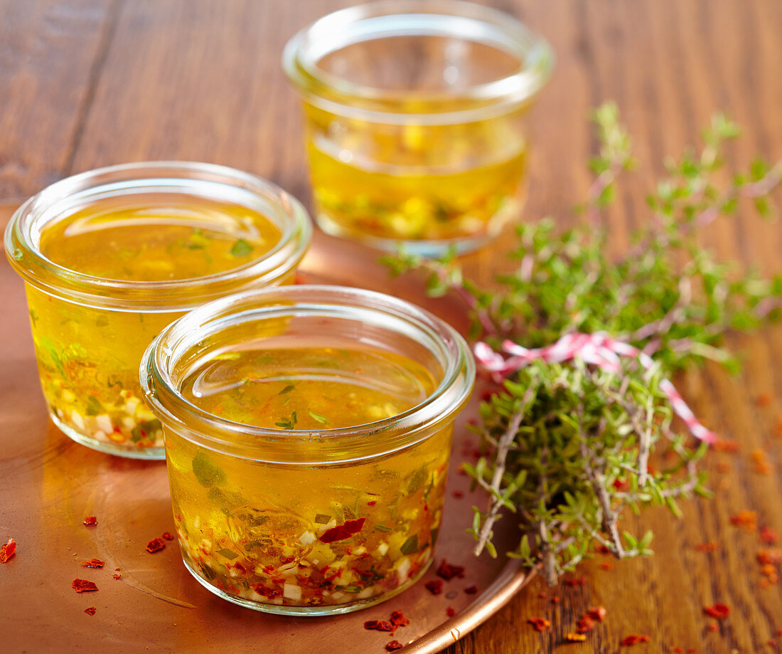Thyme and chili marinade in a glass