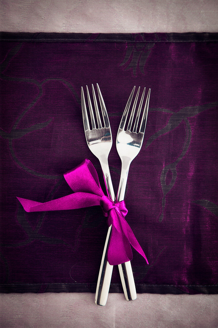 Valentine's Day table setting - two forks
