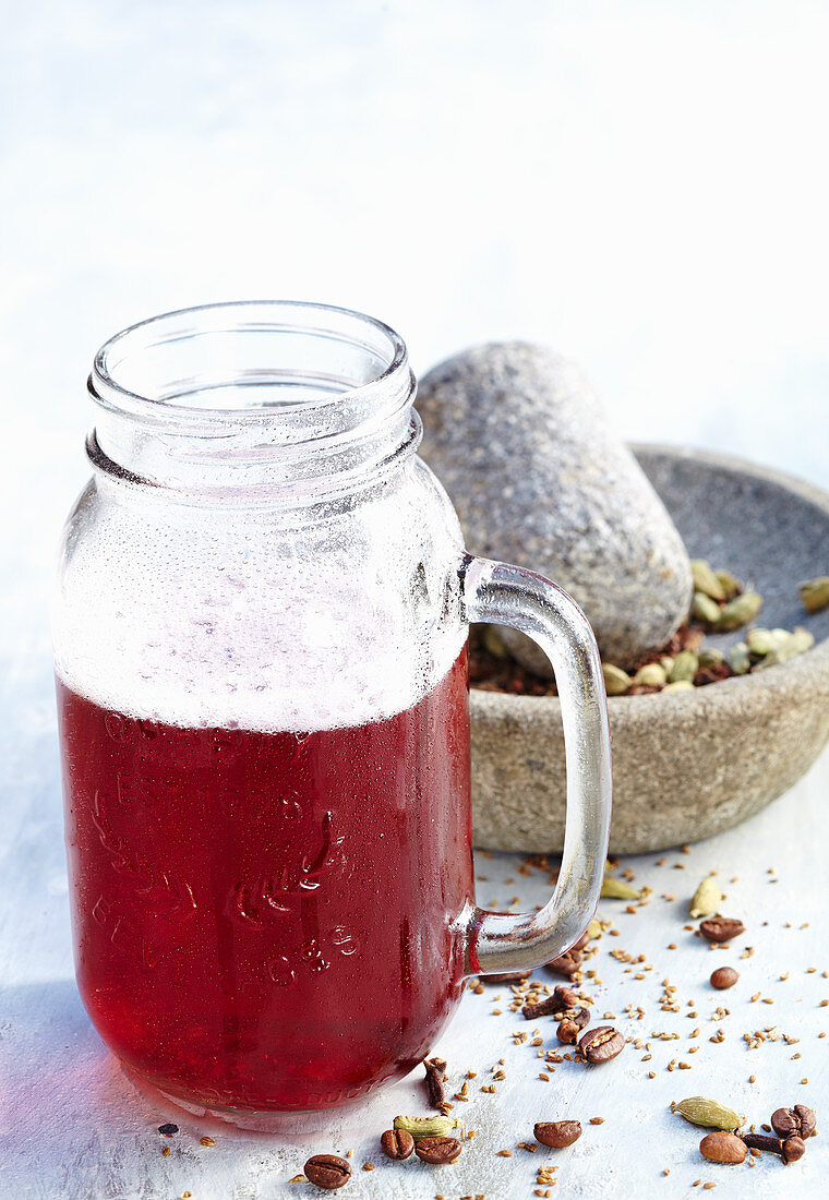 Coffee punch with spices in a tankard