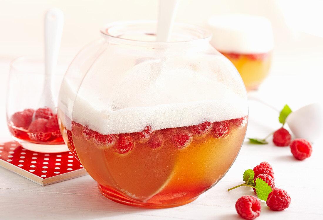 Wheat peach punch with raspberries