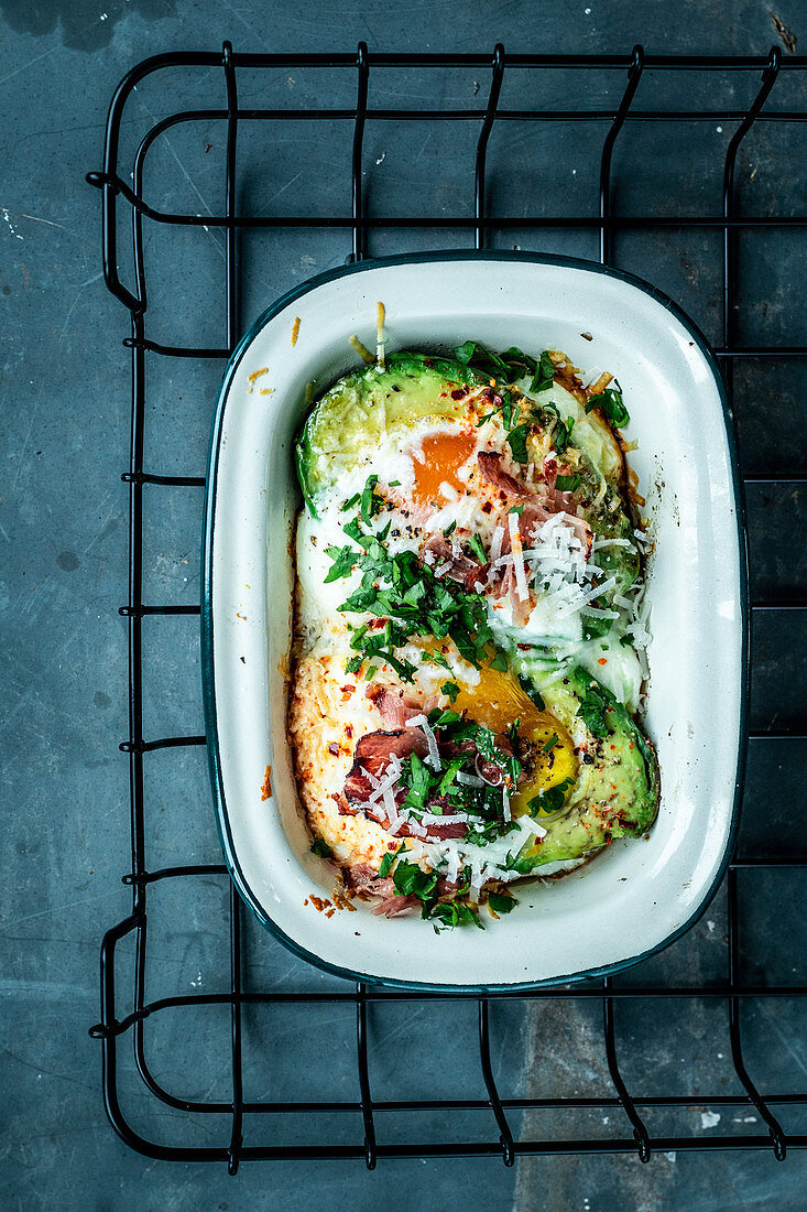 Oven-baked avocado with egg