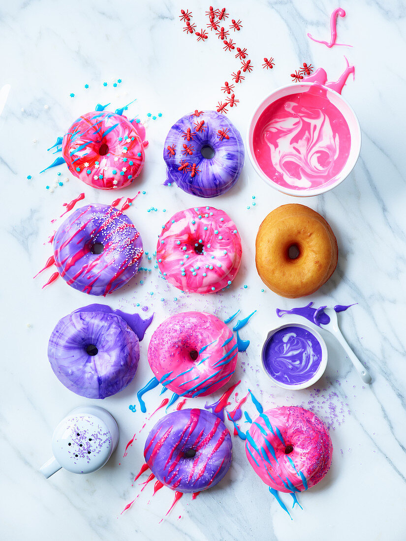 Different donuts with colourful glazes