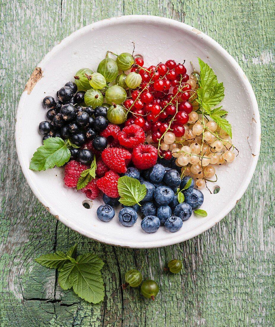Frische Beeren mit Blättern im Vintage Keramiksieb auf grünem Holzuntergrund