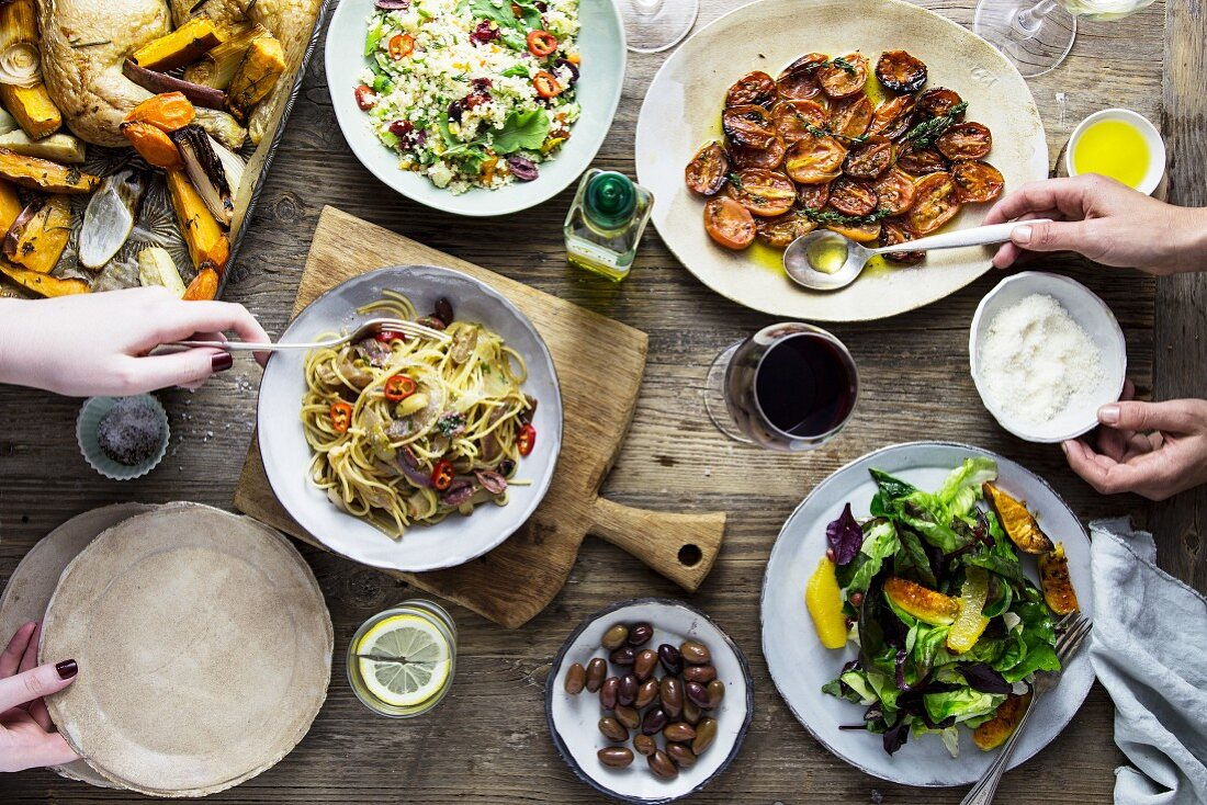 A buffet of Mediterranean dishes