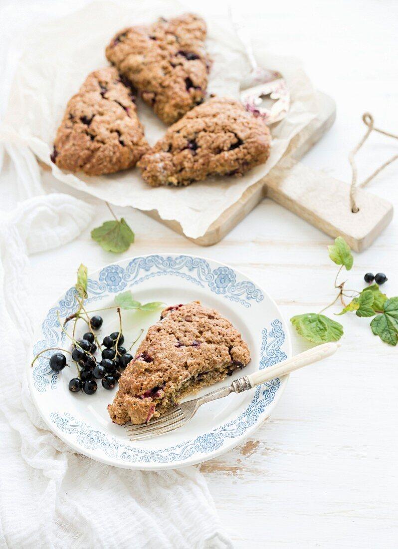 Black-currant scone bisquits with fresh garden berries