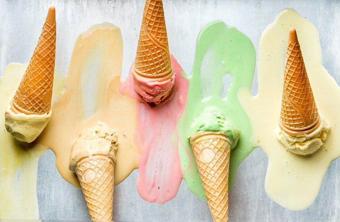 Colorful ice cream cones of different flavors