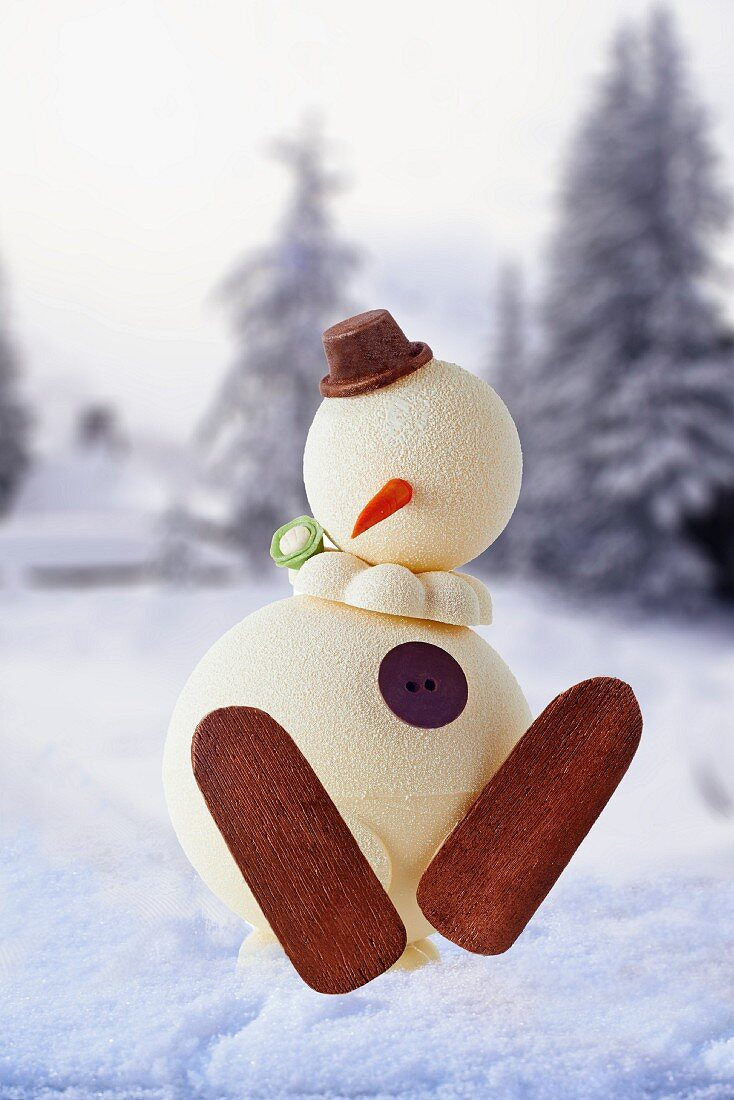 A snowman cake in front of a winter landscape