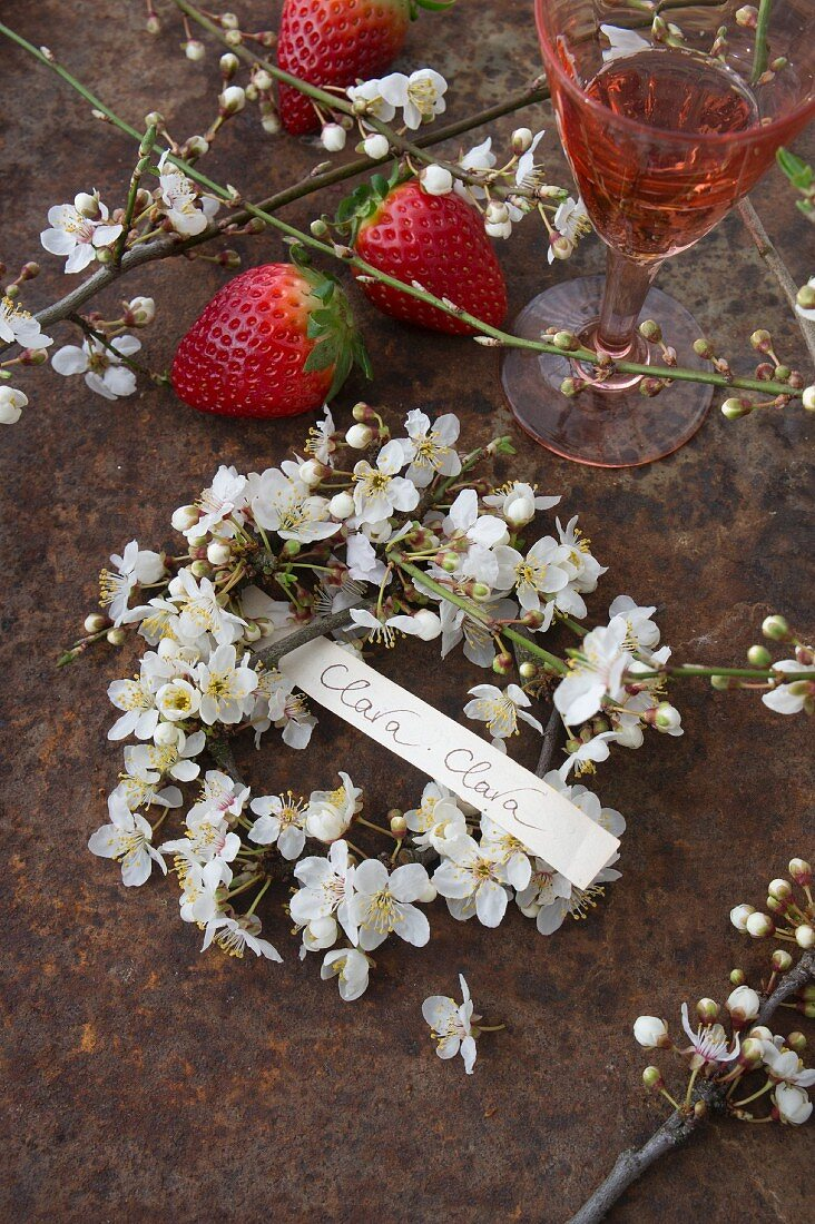 Wreath of blackthorn flowers with hand-written label