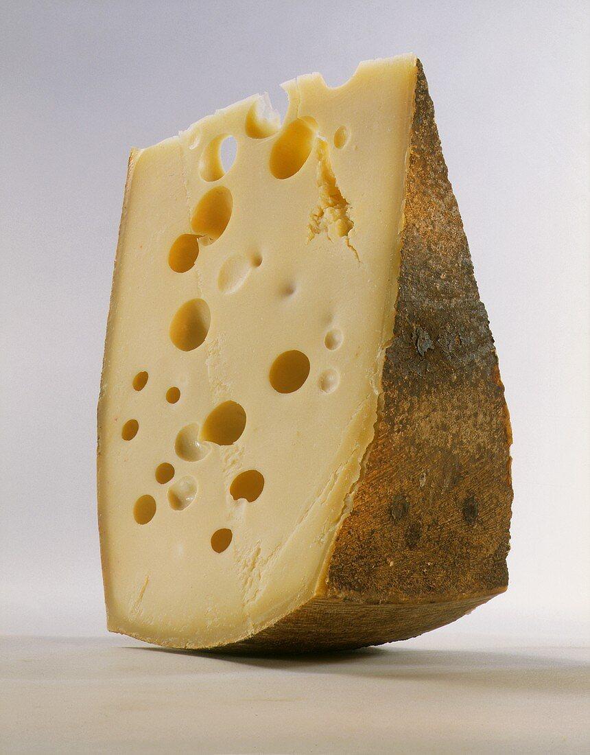 Wedge of Hard Swiss Cheese