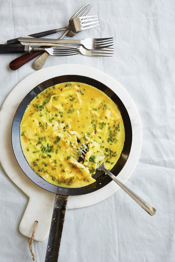 A classic omelette with fresh chives