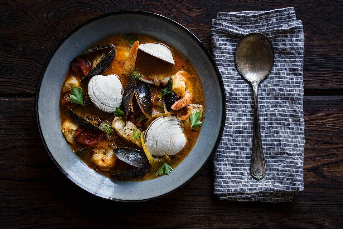 Cioppino fish stew, originating in San Francisco