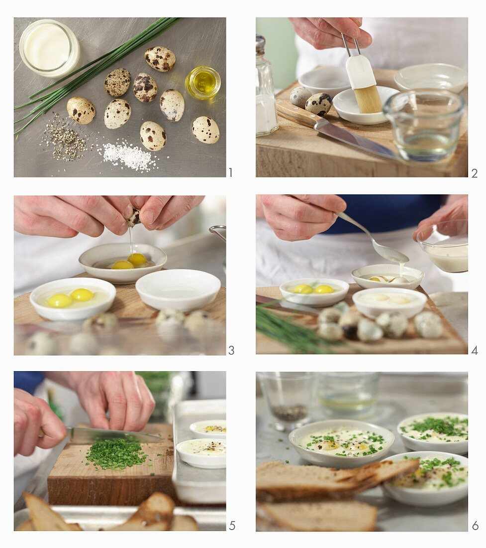 How to make baked quail eggs in soy cream with truffle oil