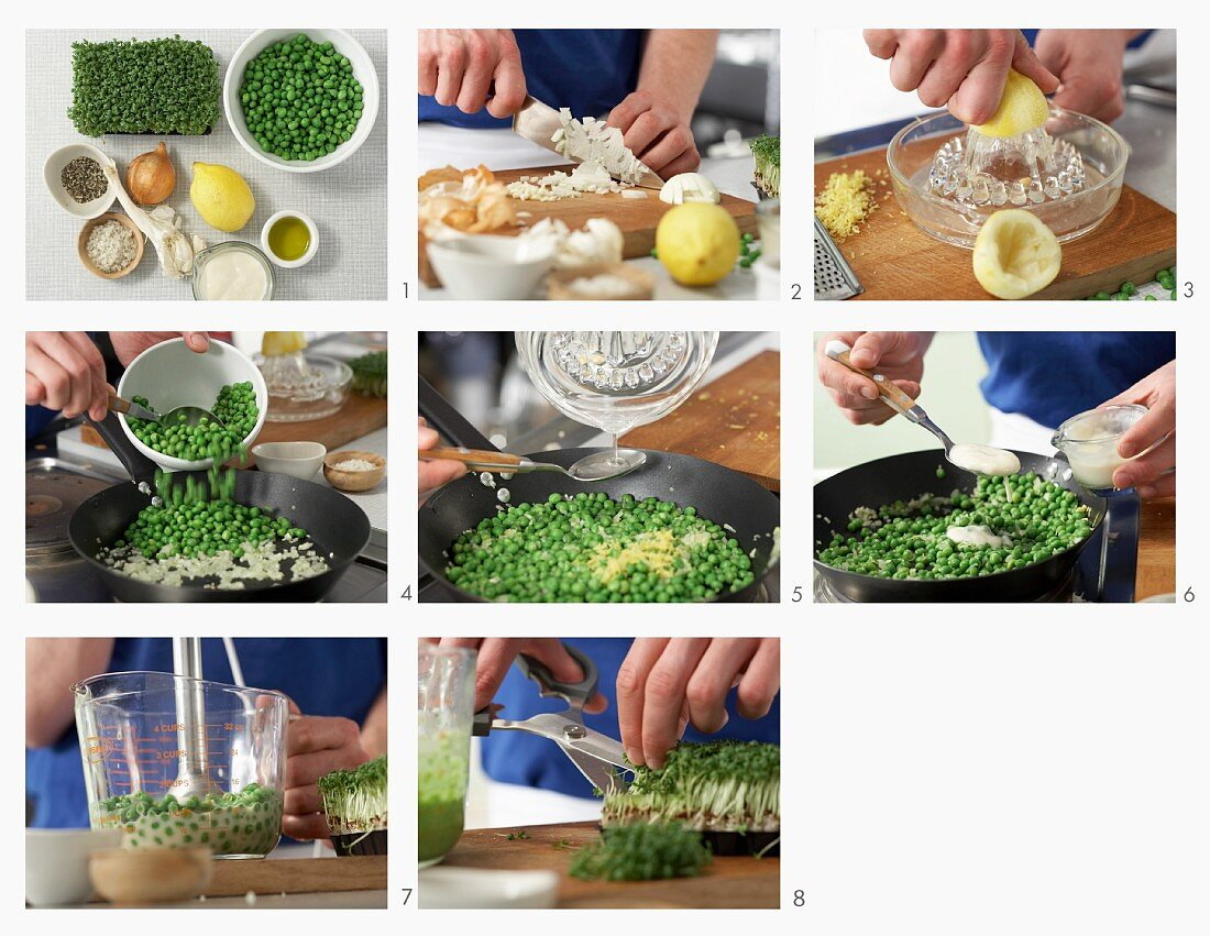 How to make pea puree with cress