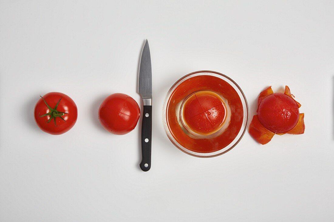 Peeling tomatoes (step by step)