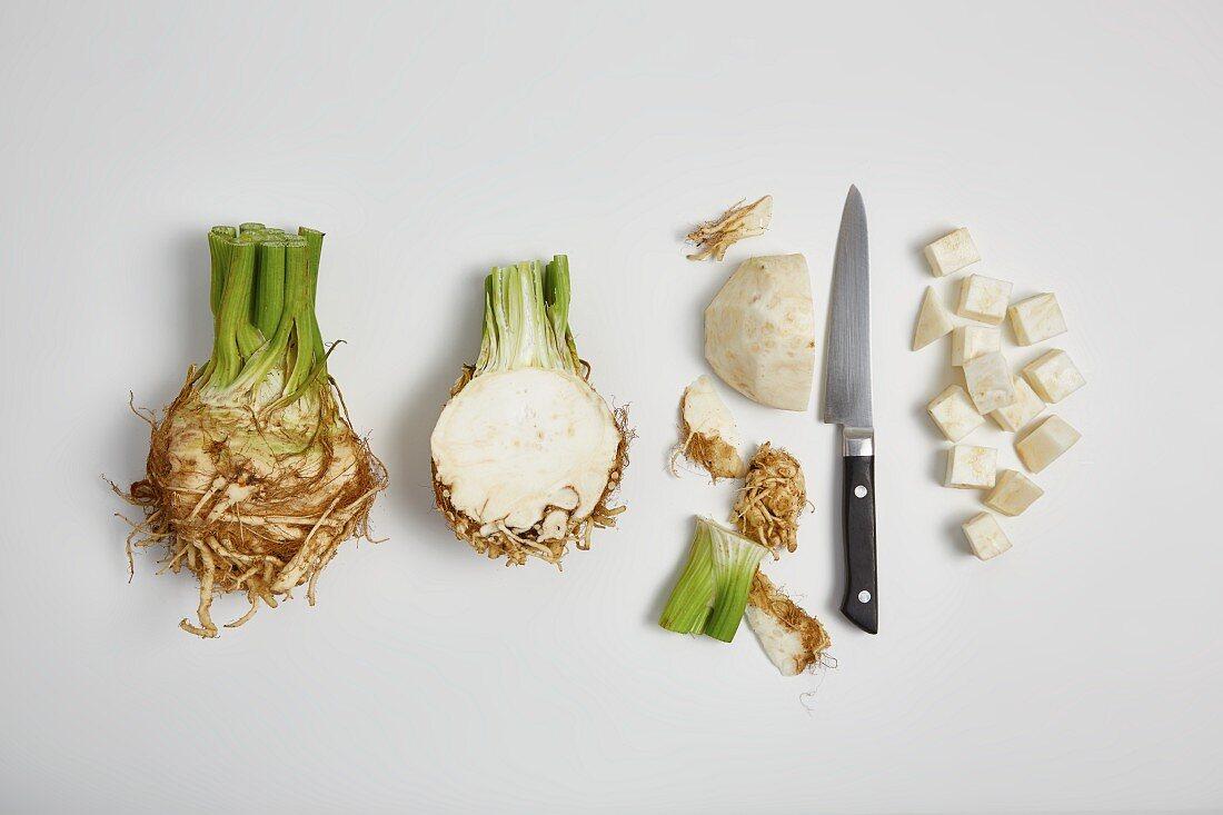 Chopping celeriac (step by step)