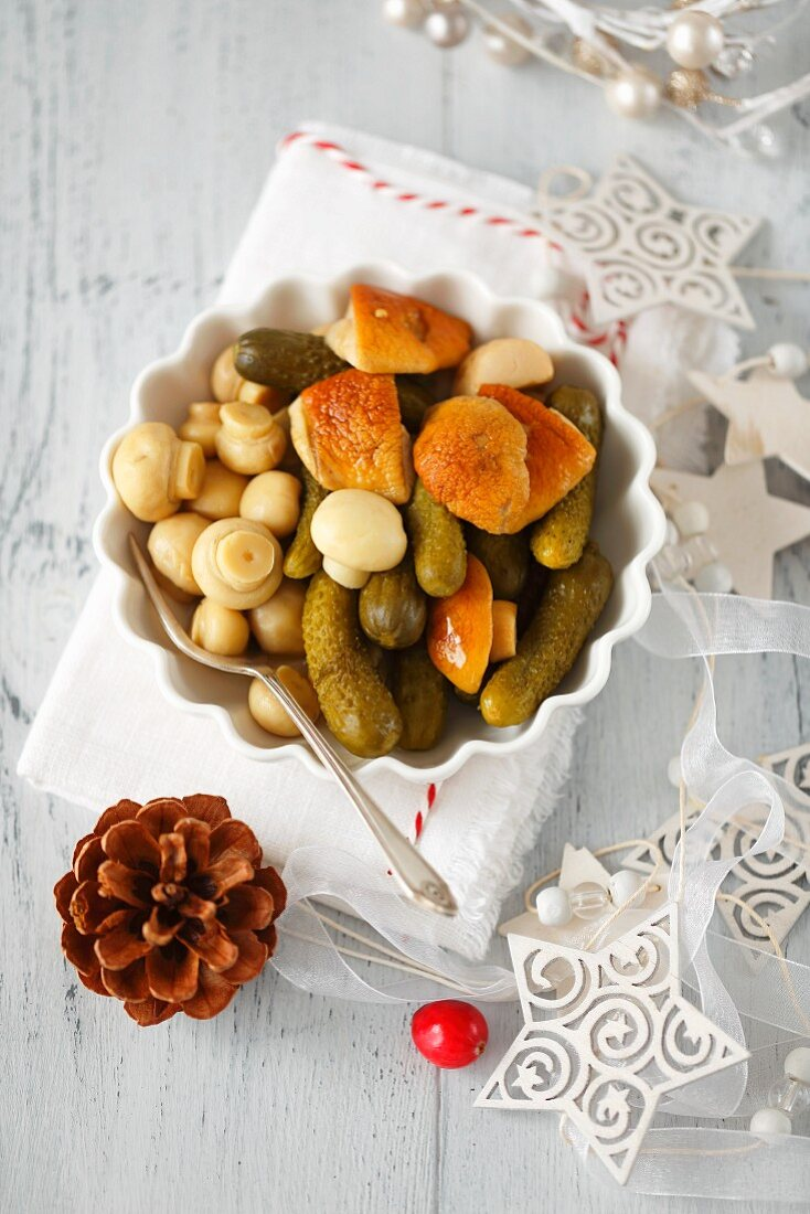 Pickled mushrooms and gherkins