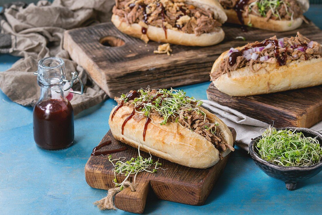 Variety of pulled pork sandwiches with meat, fried onion, green sprouts and bbq ketchup, served on wood cutting board
