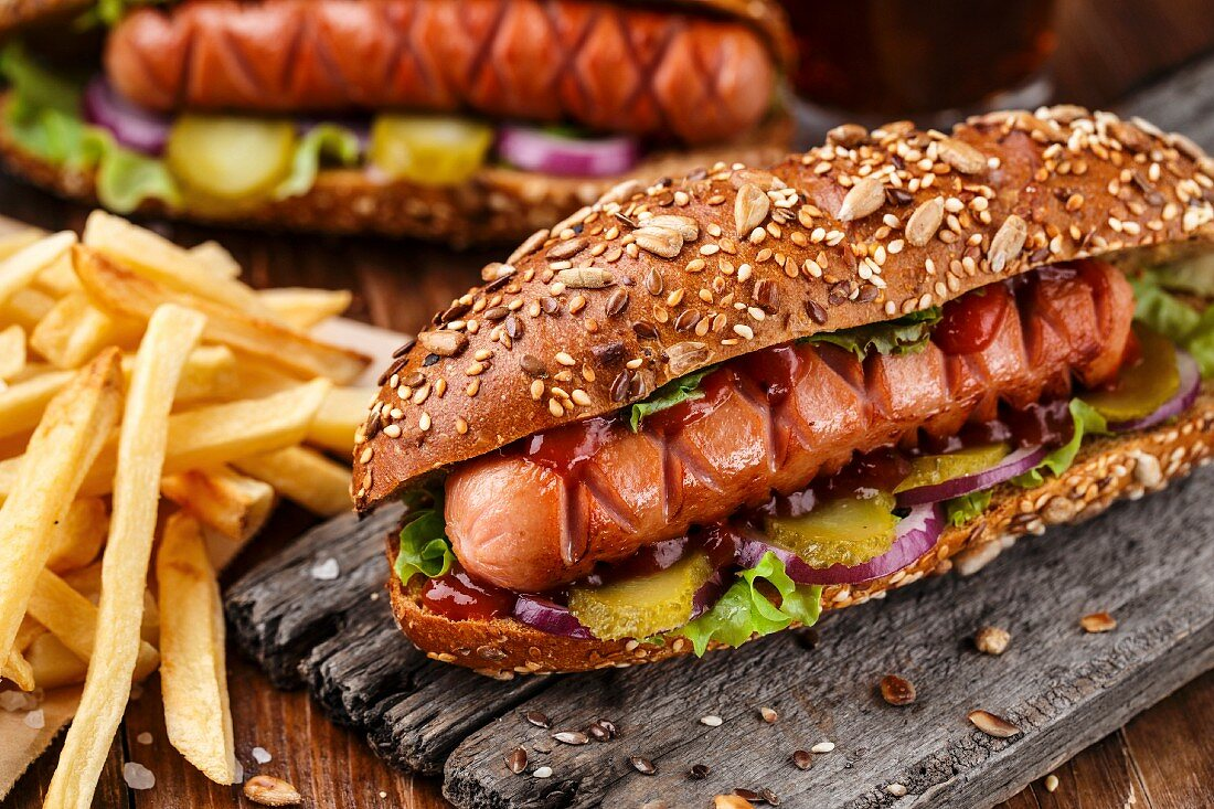 Barbecue grilled hot dog with french fries