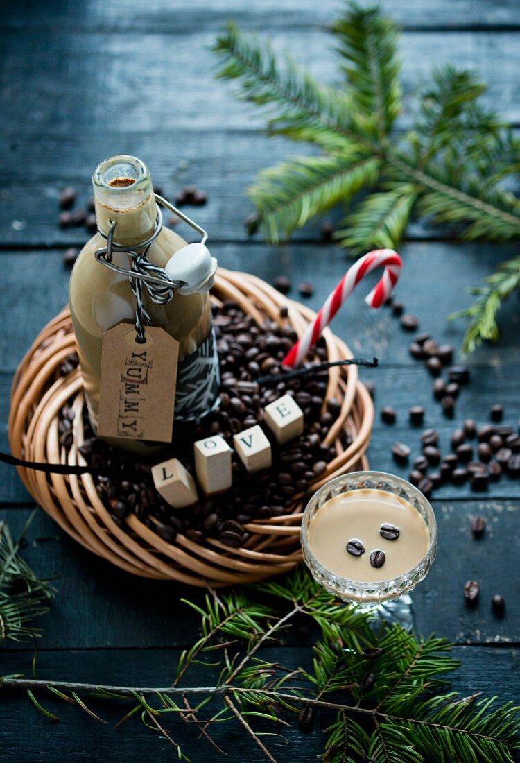 Coffee liqueur with vanilla