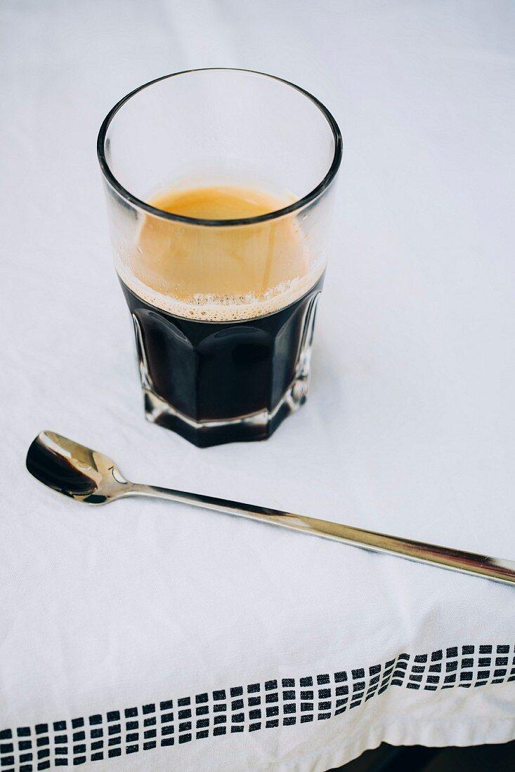 Freshly made espresso coffee with crema foam