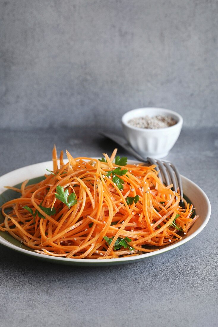 Grated Carrot Salad with parsley and sesame seeds