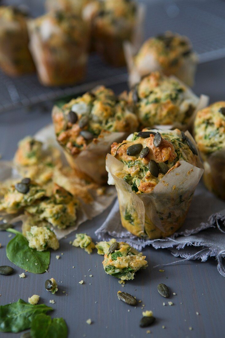 Spinach and Goats Cheese Muffins with Pumpkin Seeds