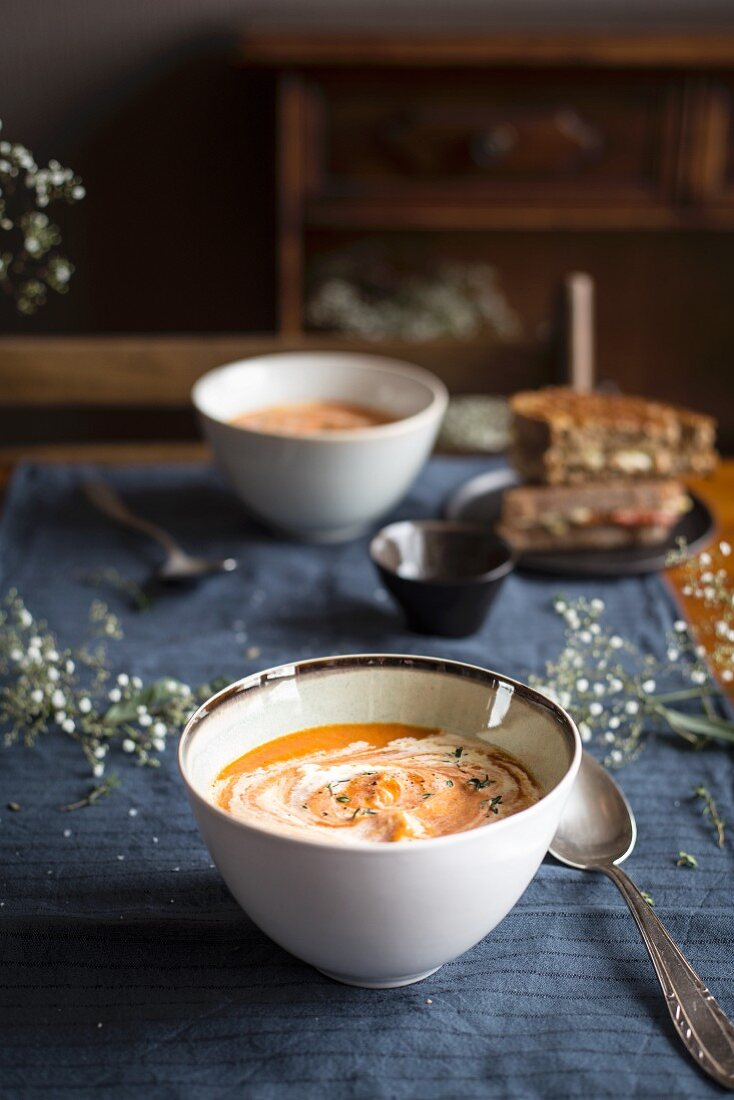 Tomato cream soup and a grilled cheese sandwich