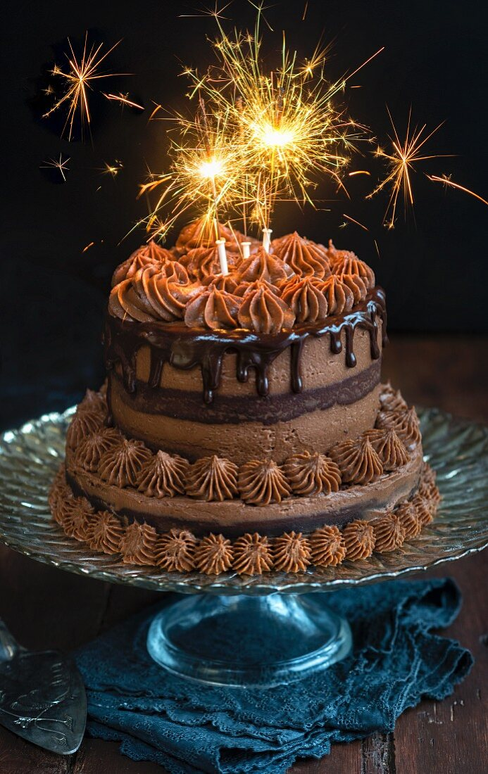 A New Year's cake decorated with sparklers