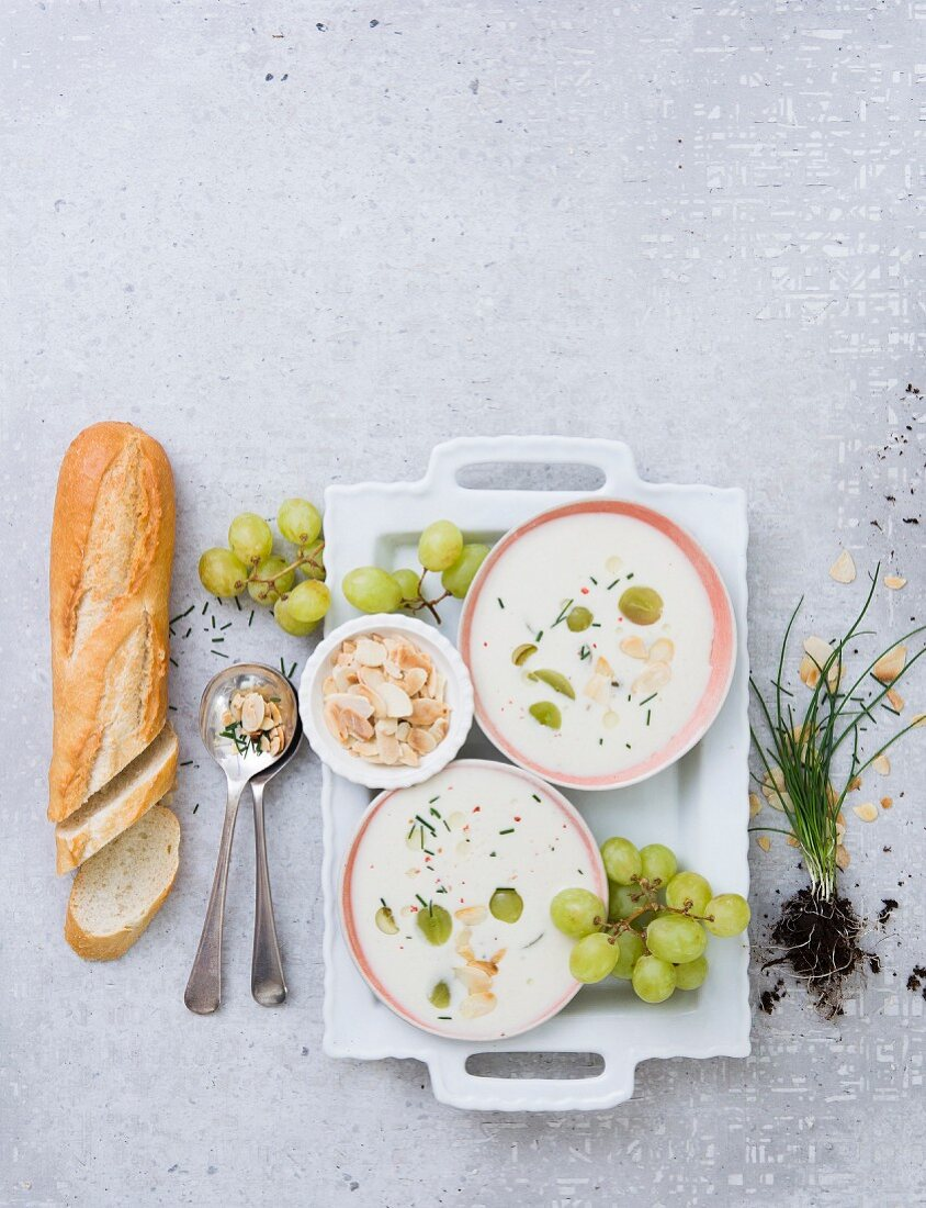 Almond gazpacho with grapes